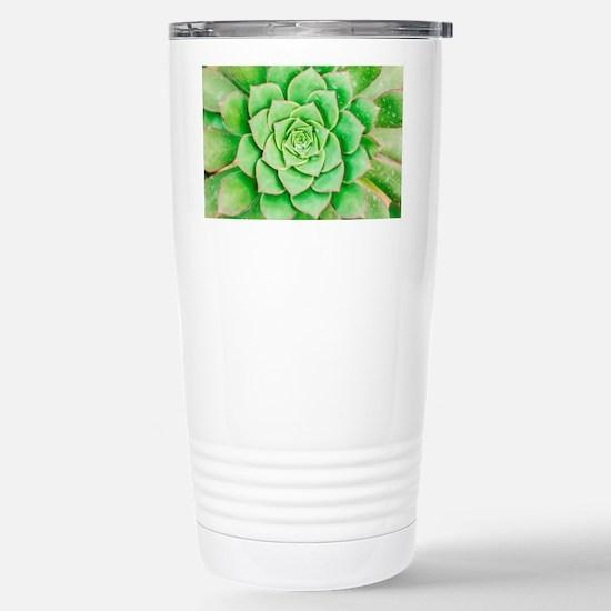 Green Flower Stainless Steel Travel Mug