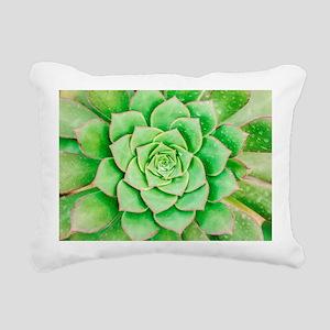 Green Flower Rectangular Canvas Pillow