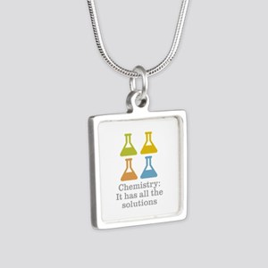 Chemistry Solutions Silver Square Necklace