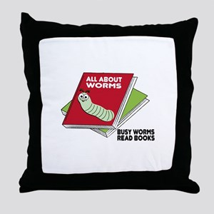 Busy Worms Read Books Throw Pillow