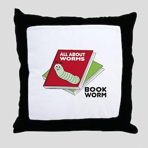 Book Worm Throw Pillow