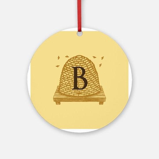 MONOGRAM Bee Hive Ornament (Round)