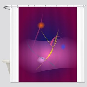 Abstract Microorganism Purple Brown Shower Curtain