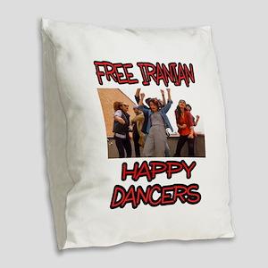 FREE HAPPY DANCERS Burlap Throw Pillow