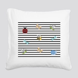 Buggles and Stripes Square Canvas Pillow