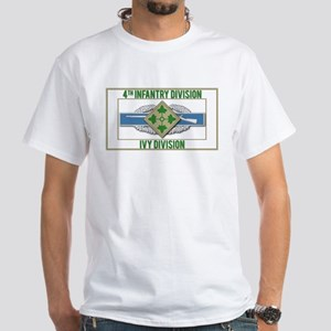 4th ID Ivy Division CIB White T-Shirt
