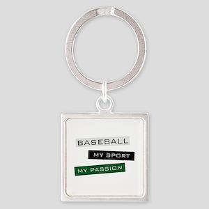 Baseball Square Keychain