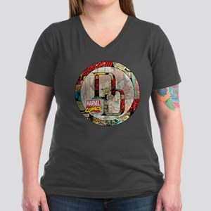 Daredevil Collage Women's V-Neck Dark T-Shirt