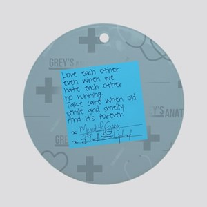 Greys Anatomy Sticky Note Round Ornament