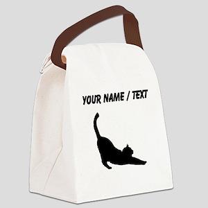 Custom Cat Stretching Canvas Lunch Bag
