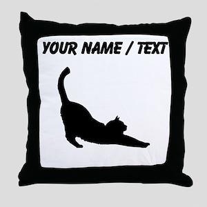 Custom Cat Stretching Throw Pillow