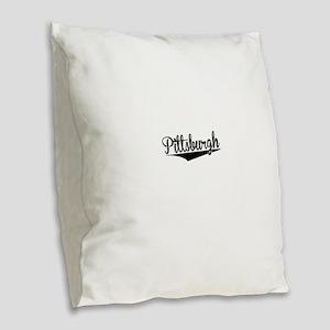 Pittsburgh, Retro, Burlap Throw Pillow