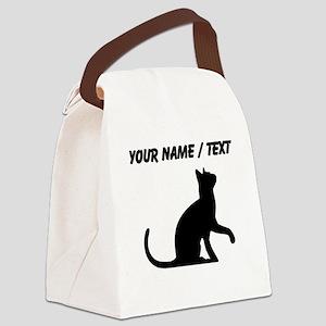 Custom Cat Sitting Canvas Lunch Bag