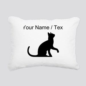 Custom Cat Sitting Rectangular Canvas Pillow