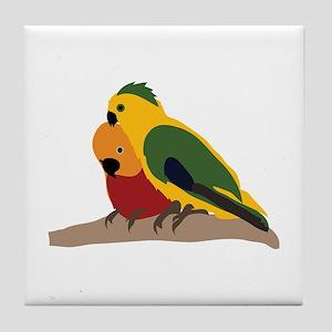 Two Parakeets Tile Coaster