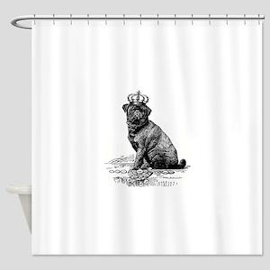 Vintage Black Pug Illustration Shower Curtain