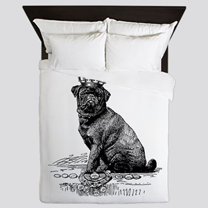 Vintage Black Pug Illustration Queen Duvet