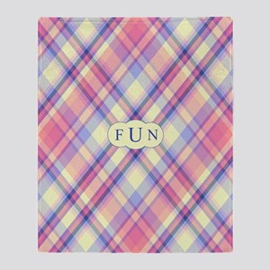 Pink Sunrise Plaid Monogram Throw Blanket