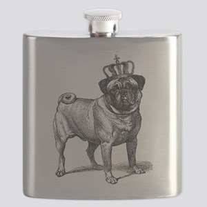 Vintage Fawn Pug with Crown Illustration Flask