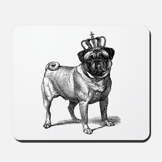Vintage Fawn Pug with Crown Illustration Mousepad