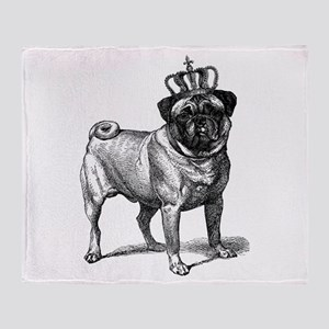 Vintage Fawn Pug with Crown Illustra Throw Blanket