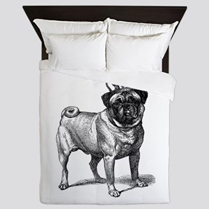 Vintage Fawn Pug with Crown Illustrati Queen Duvet