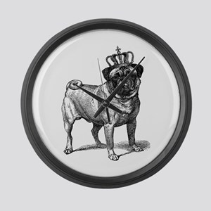 Vintage Fawn Pug with Crown Illus Large Wall Clock