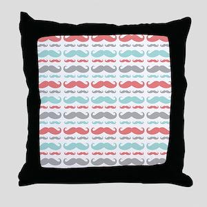 Coral Aqua Grey Mustache Throw Pillow