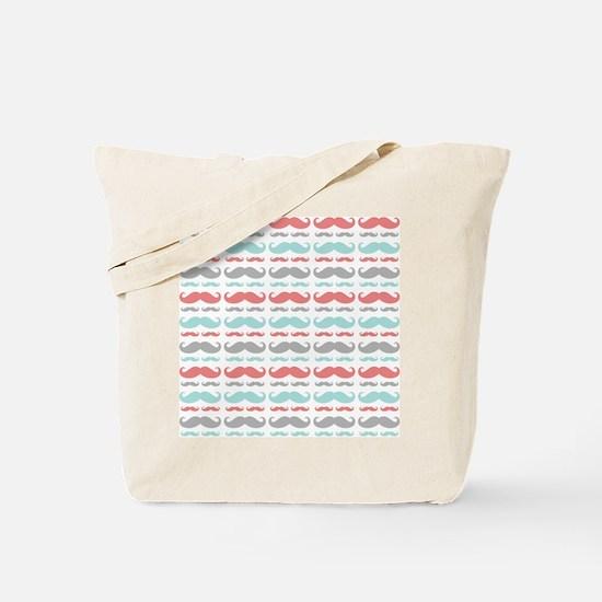 Coral Aqua Grey Mustache Tote Bag