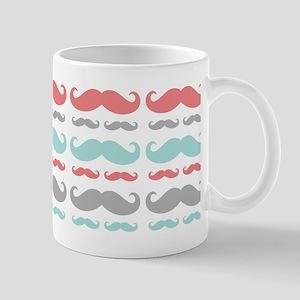 Coral Aqua Grey Mustache Mug