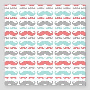 """Coral Aqua Grey Mustache Square Car Magnet 3"""" x 3"""""""