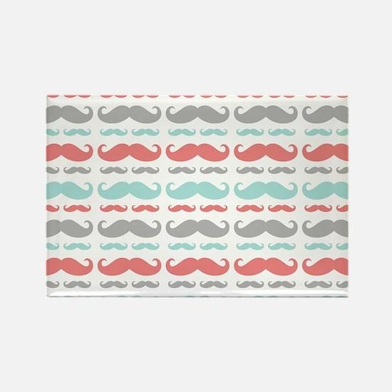 Coral Aqua Grey Mustache Rectangle Magnet