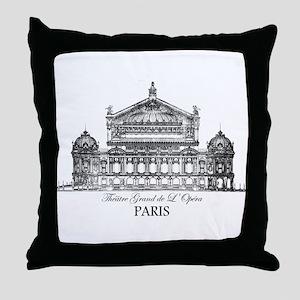 Vintage Grand Opera House, Paris Throw Pillow