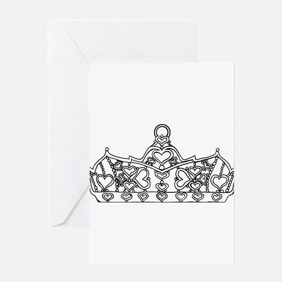 hearts crown tiara line art Greeting Cards