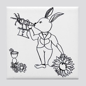 white rabbit with carrot horn daisies Tile Coaster