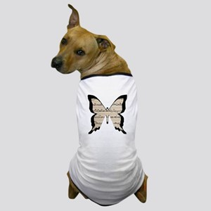black and sheet music butterly Dog T-Shirt