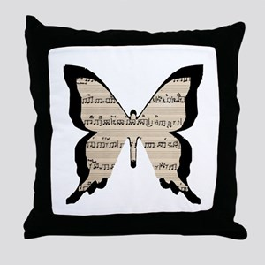 black and sheet music butterly Throw Pillow