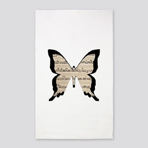 black and sheet music butterly 3'x5' Area Rug
