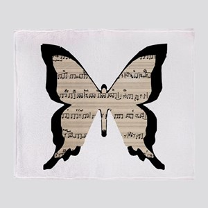 black and sheet music butterly Throw Blanket