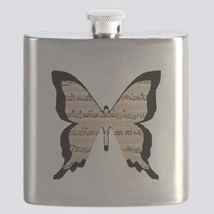 black and sheet music butterly Flask