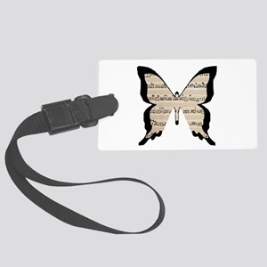 black and sheet music butterly Luggage Tag