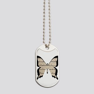 black and sheet music butterly Dog Tags