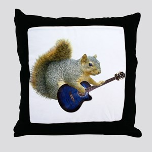 Squirrel Blue Guitar Throw Pillow