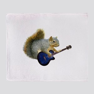 Squirrel Blue Guitar Throw Blanket