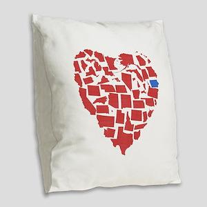 Iowa Heart Burlap Throw Pillow