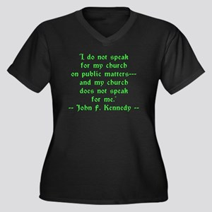 JFK Church S Women's Plus Size V-Neck Dark T-Shirt