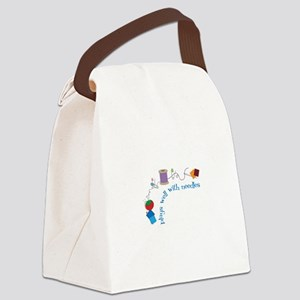 Plays well With Needles Canvas Lunch Bag