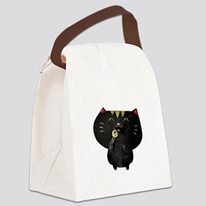 Black Sushi Cat Canvas Lunch Bag