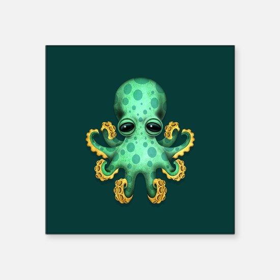 Cute Green Baby Octopus on Teal Blue Sticker