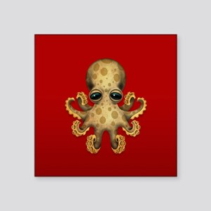 Cute Brown Baby Octopus on Red Sticker